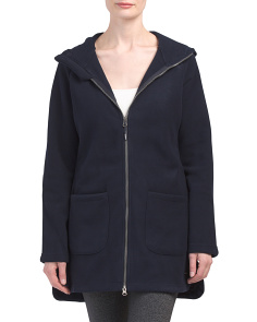 Womens Knit Hooded Polar Fleece Jacket