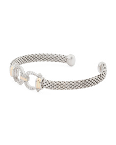 Made In Mexico 14k Gold And Sterling Silver Cz Horsebit Bracelet
