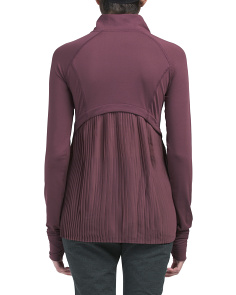 Knit Pleat Back Quarter Zip Top