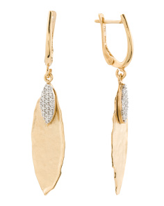 Made In Israel 14k Gold And Diamond Leaf Earrings