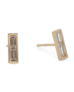 14k Gold Baguette Cz Bar Stud Earrings