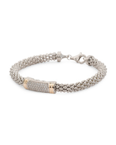 Made In Mexico 14k And Sterling Silver Cz Bar Bracelet