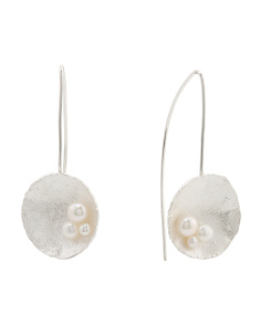 Made In Israel Sterling Silver And Pearl Drop Earrings