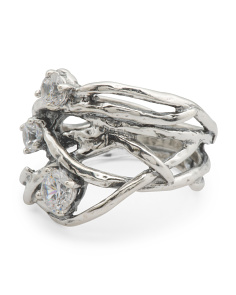 Made In Israel Sterling Silver Cz Organic Ring