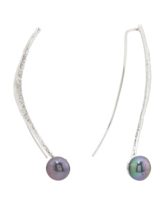 Made In Israel Sterling Silver Pearl Linear Earrings