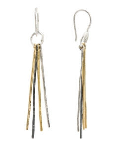 Made In Israel Tri Tone Sterling Silver Stick Earrings