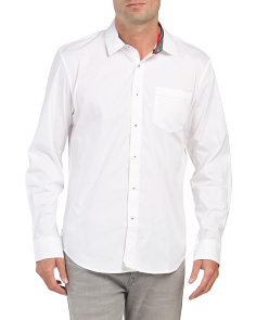 Solid Slim Fit Stretch Woven Shirt