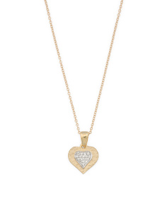 Made In Israel 14k Gold And Pave Diamond Heart Necklace
