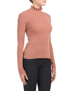 Merino Wool Sweater With Ruffle Neck