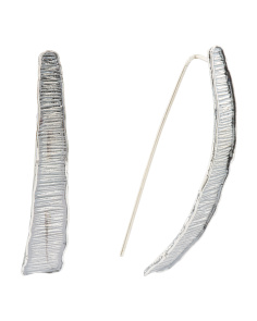 Made In Israel Oxidized Sterling Silver Linear Earrings