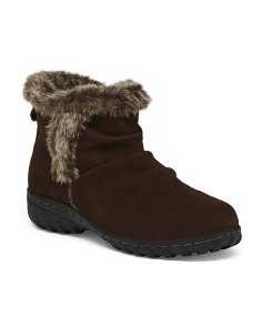 Faux Fur Collar Short Suede Boots
