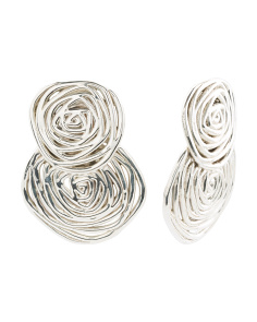 Made In Israel Sterling Silver Double Swirl Earrings