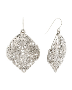 Made In Israel Sterling Silver Filigree Leaf Earrings