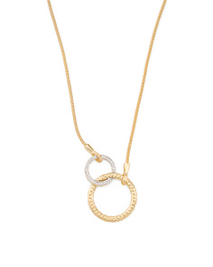 Made In Israel 14k Gold And Diamond Double Circle Necklace