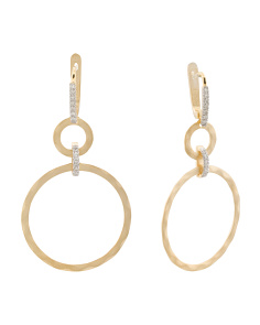 Made In Israel 14k Gold And Diamond Open Circle Earrings