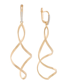 Made In Israel 14k Gold And Diamond Swirl Earrings