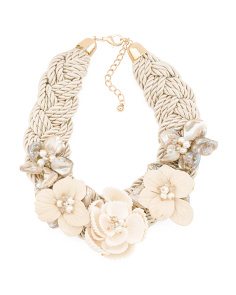 Braided Silk Shell Flower Crystal Necklace