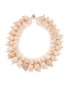 Macrame 2 Row Shell Collar Necklace