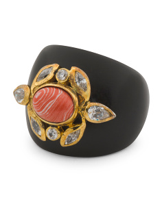 Handcrafted In India Coral And Crystal Wood Gypsy Ring