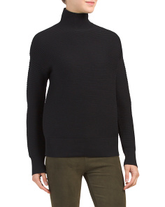 Cropped Wool Blend Turtleneck Sweater