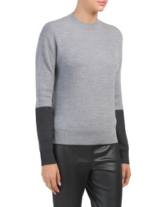 Merino Wool Color Block Sweater