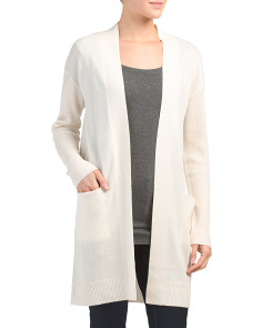 Ribbed Sleeve Cashmere Cardigan