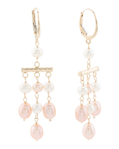 Made In Usa 14k Gold Pink Pearl Chandelier Earrings