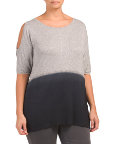 Plus Cold Shoulder Ombre Top