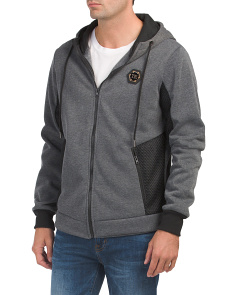 Full Zip Hoodie With Contrast Mesh