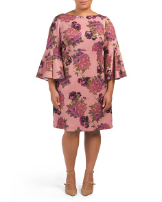 Plus Bell Sleeve Floral Scuba Dress