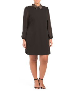 Plus Embellished Collar Shift Dress With Sheer Sleeves