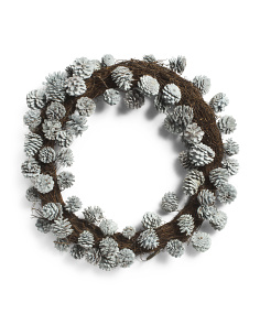 22in Silver Pinecone Wreath