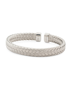 Made In Italy Sterling Silver Cz Braided Cuff Bracelet