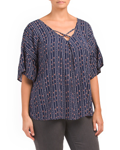 Plus Flutter Sleeve V-neck Blouse