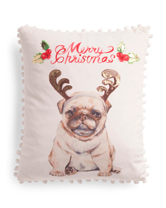 14x18 Velvet Christmas Pug Pillow