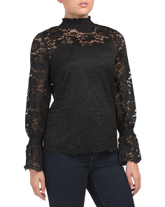 Ruched Long Sleeve Knit Lace Top