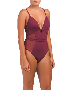 Push Up One-piece Swimsuit With Mesh Insets
