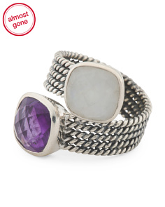 Made In Indonesia Sterling Silver Moonstone Amethyst Ring
