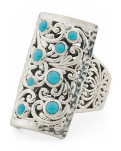 Made In Indonesia Sterling Silver Turquoise Rectangle Ring