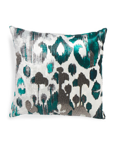 Made In India 22x22 Velvet Pillow With Gunmetal Beads