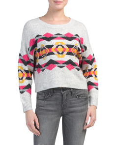 Juniors Aztec Pullover Sweater