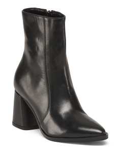 Made In Europe Calf Bootie Zip Pointy Booties