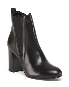 Made In Europe High Heel Leather Booties