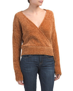 Chenille Faux Wrap Front Pullover