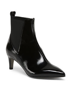 Made In Italy Kitten Heel Patent Leather Booties