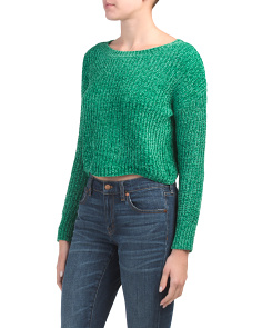 Chenille Scallop Hem Cropped Sweater