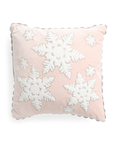 16x16 Blush Velvet Snowflake Pillow