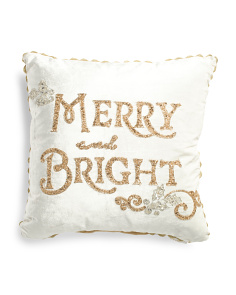 Made In India 20x20 Velvet Merry And Bright Pillow