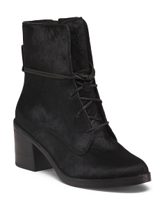 Block Heel Haircalf Booties