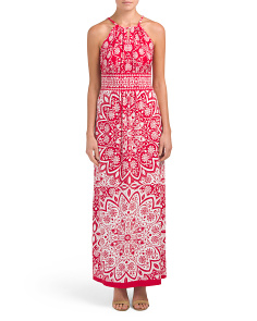 Petite Printed Halter Maxi Dress
